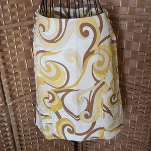 Elevenses Anthropologie  brown swirl skirt